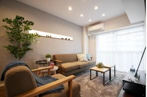 デザイン性溢れるリビング。家具付きです